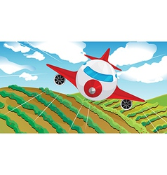 A flying airplain and a beautiful landscape vector image