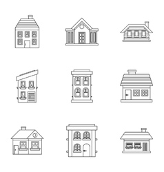 Habitation icons set outline style vector