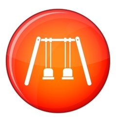 Wooden swings hanging on ropes icon flat style vector