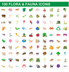 100 flora and fauna icons set cartoon style vector
