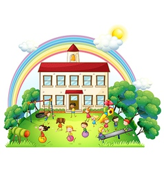 Children playing in front of the school vector image