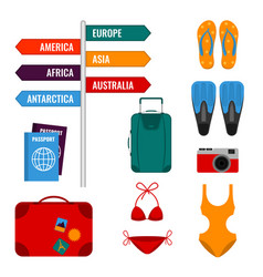 Summer holidays set with direction signs luggage vector