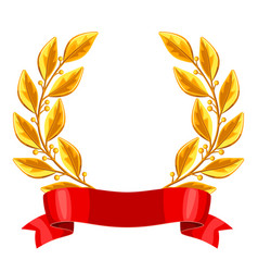 Realistic gold laurel wreath with red ribbon vector