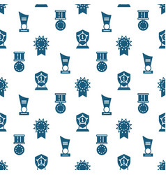 Awards trophy and prizes seamless pattern - vector