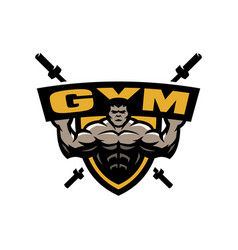 bodybuilding gym logo emblem vector image
