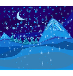 Beautiful wintry landscape with night sky vector