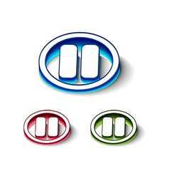 3d glossy playpuase icon vector image