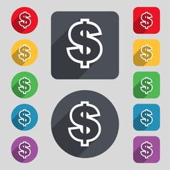 Dollar icon sign a set of 12 colored buttons and a vector