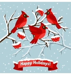 Happy holidays greeting card with birds red vector