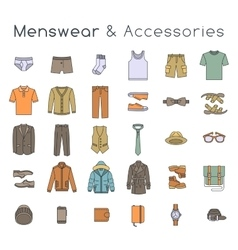 Men fashion clothes and accessories flat line vector