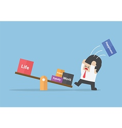 Businessman trying to balance his life vector