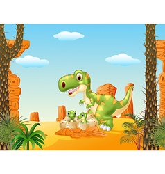 Cartoon mother and baby dinosaur hatching vector