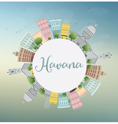 Havana skyline with color building blue sky vector