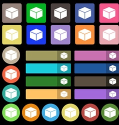 Cube icon sign set from twenty seven multicolored vector