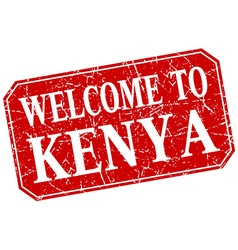Welcome to kenya red square grunge stamp vector
