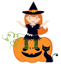 Cute witch sitting on pumpkin vector