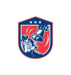 American Patriot Ringing Liberty Bell Woodcut vector image vector image