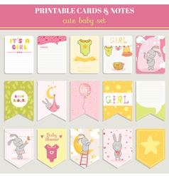 Baby Girl Card Set - for birthday baby shower vector image vector image