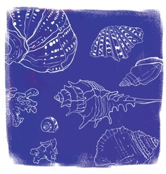 background with hand drawn seashells vector image