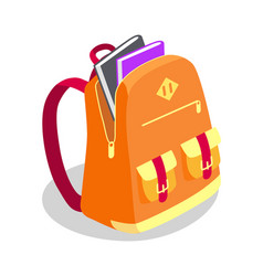 Backpack full of book isolated vector