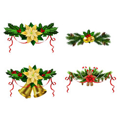 Christmas decoration evergreen trees and bell vector