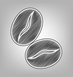 Coffee beans sign pencil sketch imitation vector