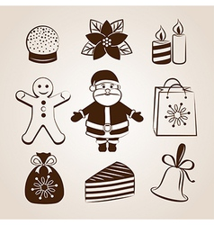 Collection of christmas icons or objects vector