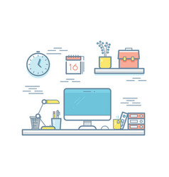 colorful office workspace with computer vector image vector image