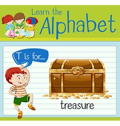 Flashcard letter T is for treasure vector image vector image