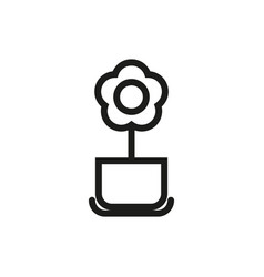 flower pot icon on white background vector image vector image