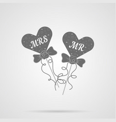 Gray wedding hearts mr and mrs flat icon vector