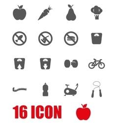 grey diet icon set vector image vector image