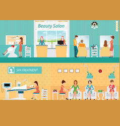 Hair salon interior building with customer vector