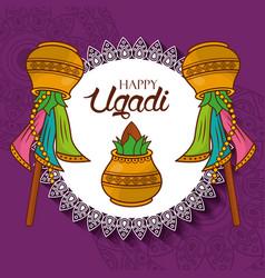 Happy ugadi new year celebration hindu vector