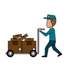 mailman with package icon image vector image vector image