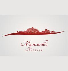 manzanillo skyline in red vector image
