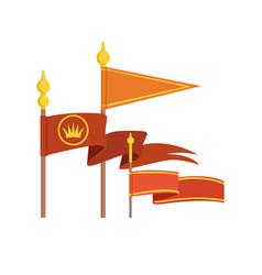 medieval royal flag set colorful vector image