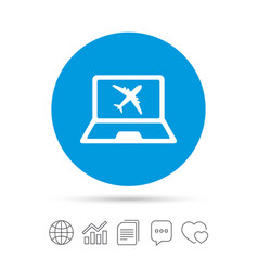 online check-in sign airplane symbol travel vector image