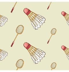 Pattern with shuttlecock and badminton racket vector