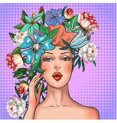 pop art girl with flower wreath on head vector image