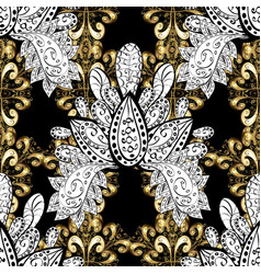 seamless classic golden pattern floral ornament vector image vector image