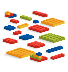 Set of plastic lego pieces or constructor vector
