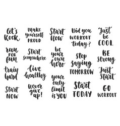 set of sport inspirational quotes on white vector image