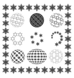 Set round sphere with stars of david vector