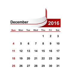 Simple calendar 2016 year december month vector