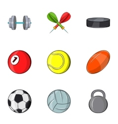 Sports equipment icons set cartoon style vector