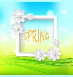 Spring natural sunny background with white frame vector