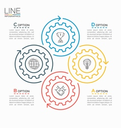 thin line circle infographic template with gears 4 vector image