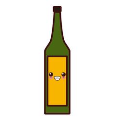 wine glass bottle kawaii cute cartoon vector image vector image