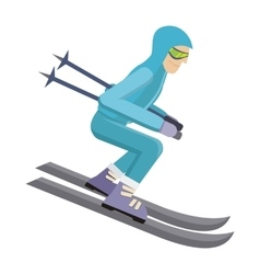 Skier isolated on white person skiing vector